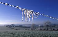 BEL, Belgium, Eastbelgium, winter landscape near Burg-Reuland, hoarfrost at a fence.....BEL, Belgien, Ostbelgien, Winterlandschaft bei Burg-Reuland, Raureif an einem Zaun.........