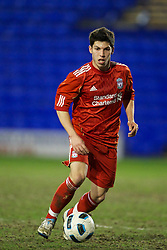 BIRKHENHEAD, ENGLAND - Monday, February 28, 2011: Liverpool's Daniel Pacheco in action against Blackburn Rovers during the FA Premiership Reserves League (Northern Division) match at Prenton Park. (Photo by David Rawcliffe/Propaganda)