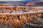 Sunset over Bryce Canyon in winter.