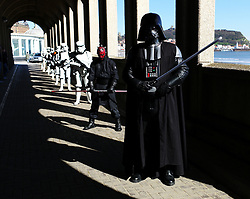 © Licensed to London News Pictures. 10/04/2016. Scarborough, UK.  People in Star Wars dress costume take part in Scarborough Sci-fi Convention held this weekend at the Spa building, South Bay, Scarborough.  Photo credit: Ian Forsyth/LNP