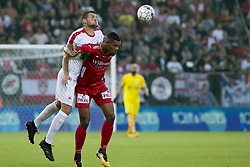 August 27, 2017 - Oostende, BELGIUM - Antwerp's Dino Aslanagic and Oostende's Zinho Gano pictured during the Jupiler Pro League match between KV Oostende and Royal Antwerp, in Oostende, Sunday 27 August 2017, on the fifth day of the Jupiler Pro League, the Belgian soccer championship season 2017-2018. BELGA PHOTO KRISTOF VAN ACCOM (Credit Image: © Kristof Van Accom/Belga via ZUMA Press)