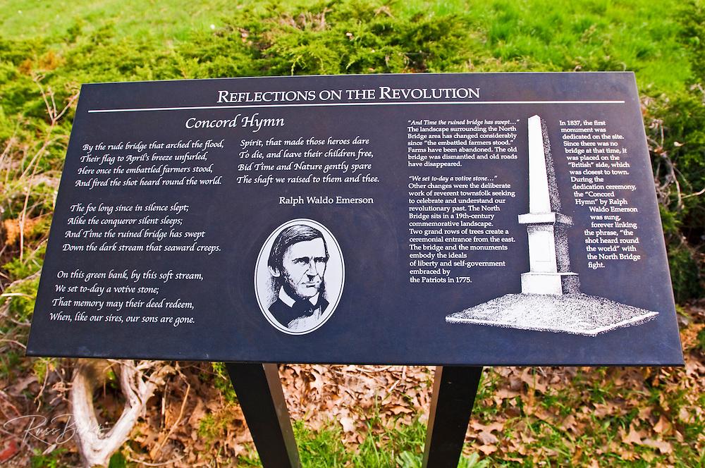 Interpretive plaque at the Old North Bridge, Minute Man National Historic Park, Massachusetts