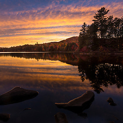 Little Greenough Pond in Wentworths Location, New Hampshire. Fall. Northern Forest. Sunset.