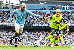David Silva of Manchester City takes on Alex Pritchard of Huddersfield Town - Mandatory by-line: Robbie Stephenson/JMP - 19/08/2018 - FOOTBALL - Etihad Stadium - Manchester, England - Manchester City v Huddersfield Town - Premier League