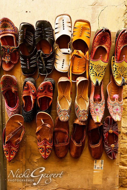 colorful pairs of shoes lined up. Exotic places fine art photography prints for sale, wall art, stock images.