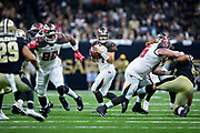 NEW ORLEANS, LA - SEPTEMBER 9:  Ryan Fitzpatrick #14 of the Tampa Bay Buccaneers drops back to pass during a game against the New Orleans Saints at Mercedes-Benz Superdome on September 9, 2018 in New Orleans, Louisiana.  The Buccaneers defeated the Saints 48-40.  (Photo by Wesley Hitt/Getty Images) *** Local Caption *** Ryan Fitzpatrick