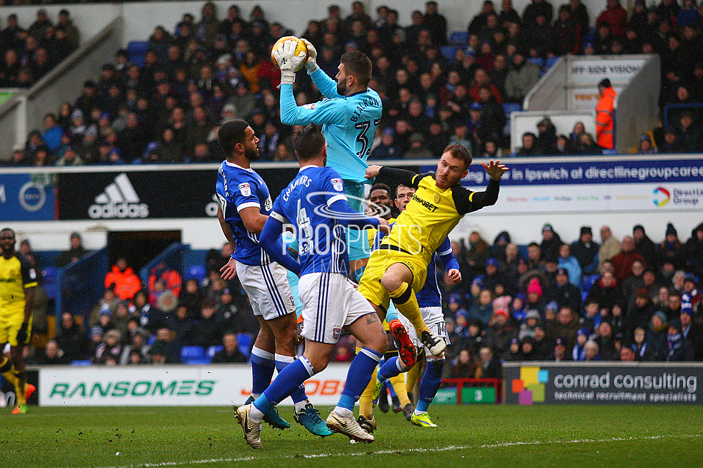 Ipswich Town's Bartosz Bialkowski takes a catch during the EFL Sky Bet Championship match between Ipswich Town and Burton Albion at Portman Road, Ipswich, England on 10 February 2018. Picture by John Potts.