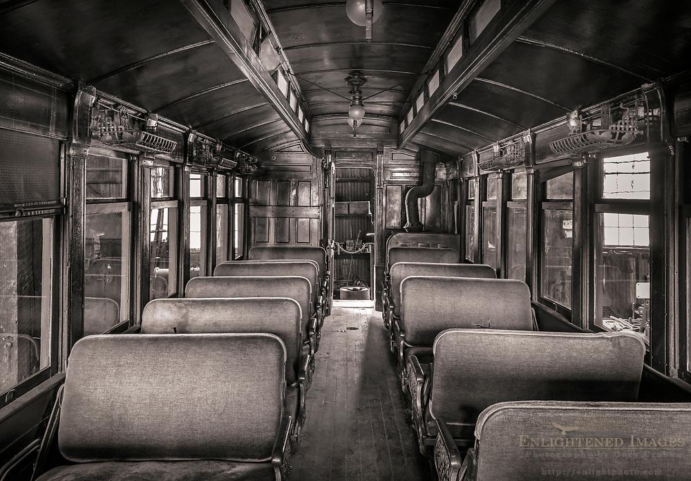Antique late 19th-century railroad coach car, Railroad 1897 State Historic Park, Jamestown, California