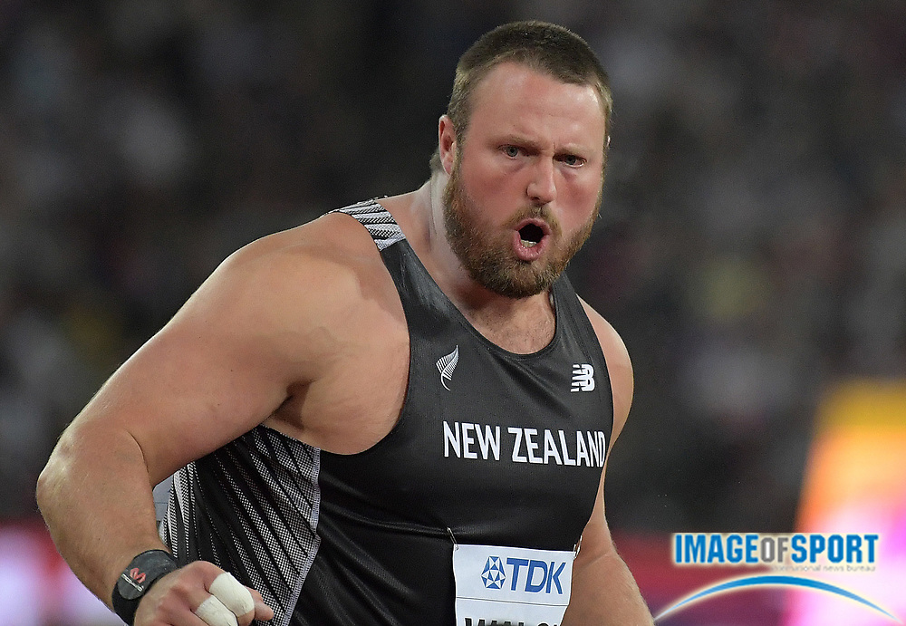 Aug 6, 2017; London, United Kingdom; Tomas Walsh (NZL) poses with New Zealand flag after winning the shot put with a throw of 72-3 1/2 (22.03m) during the IAAF World Championships in Athletics at London Stadium at Queen Elizabeth Park.