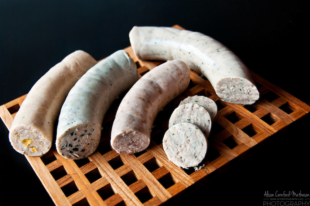Belgian Boudin Blanc: (from the top down) Apricot, Truffle, Nut and Liège (right)