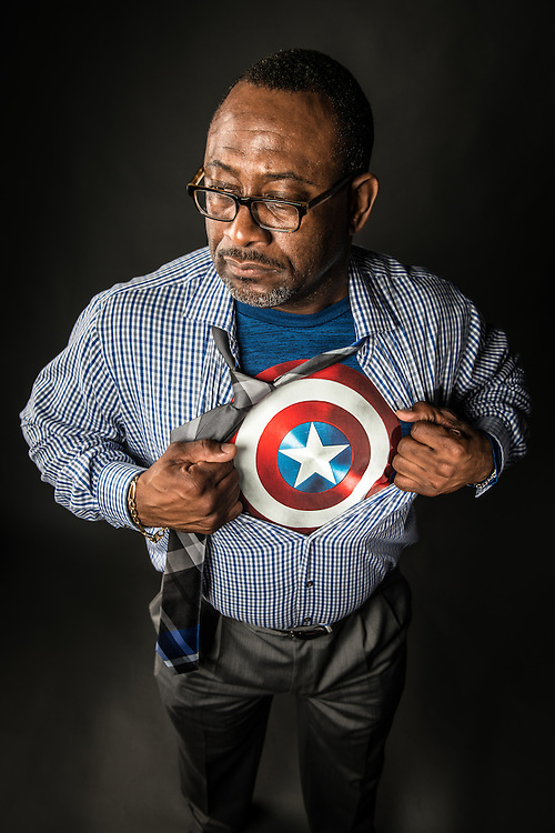 Ty Carr, Director of Interlink Alliance and Special Assistant to the Vice Provost for Diversity and Inclusion, reveals his inner Captain America; Tuesday, October 18, 2016.