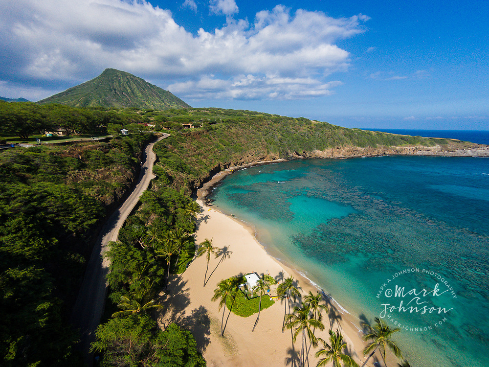 Aerial photograph of Hanauma Bay Nature Preserve, Oahu, Hawaii