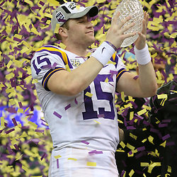07 January 2008: LSU quarterback Matt Flynn (15) holds up the crystal football from the Coaches Trophy following the 2008 All State BCS Championship game a 38-24 win by the LSU Tigers over the Ohio State Buckeyes at the Louisiana Superdome in New Orleans, Louisiana.