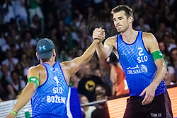 Blaz Jakopin with Tadej Bozenk of Slovenia at Beach Volleyball Challenge Ljubljana 2019, on August 4, 2019 in Kongresni trg, Ljubljana, Slovenia. Photo by Grega Valancic / Sportida
