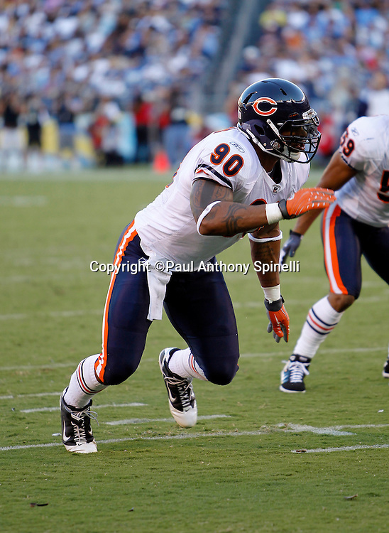 Chicago Bears defensive end Julius Peppers (90) makes a move during a NFL week 1 preseason football game against the San Diego Chargers, Saturday, August 14, 2010 in San Diego, California. The Chargers won the game 25-10. (©Paul Anthony Spinelli)