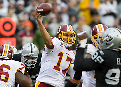 December 13, 2009; Oakland, CA, USA;  Washington Redskins quarterback Jason Campbell (17) passes against the Oakland Raiders during the first quarter at Oakland-Alameda County Coliseum.  Washington defeated Oakland 34-13.