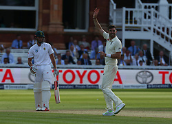 July 7, 2017 - London, United Kingdom - England's James Anderson  celebrates the catch of TB de Bruyn of South Africa  by England's Jonny Bairstow .during 1st Investec Test Match between England and South Africa at Lord's Cricket Ground in London on July 07, 2017  (Credit Image: © Kieran Galvin/NurPhoto via ZUMA Press)