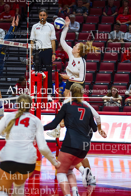 BLOOMINGTON, IL - September 15: Sydney Holt during a college Women's volleyball match between the ISU Redbirds and the Marquette Golden Eagles on September 15 2019 at Illinois State University in Normal, IL. (Photo by Alan Look)