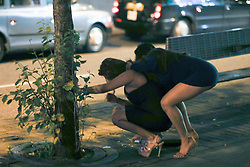 MANCHESTER 19.09.2017  A female holes another  hair back whilst she throws up on the floor<br /> <br /> <br /> <br /> <br /> Freshers week continues in Manchester which has seen 1000s of students out drinking every night since Sunday.