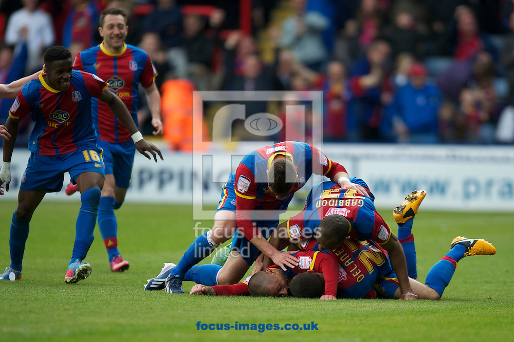 Picture by Alan Stanford/Focus Images Ltd +44 7915 056117.04/05/2013. Crystal Palace players celebrate their goal to equalise during the npower Championship match at Selhurst Park, London...