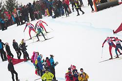 11.01.2015, Langlaufstadion, Lago di Tesero, ITA, FIS Tour de Ski, Langlauf Herren, Individual Start 9 Km, im Bild Group during the Men 9 km Pursuit Cross Country of the FIS Tour de Ski 2014 at the Cross Country Stadium, Lago di Tesero, Italy on 2015/01/11. EXPA Pictures ©  2015, PhotoCredit: EXPA/ Federico Modica