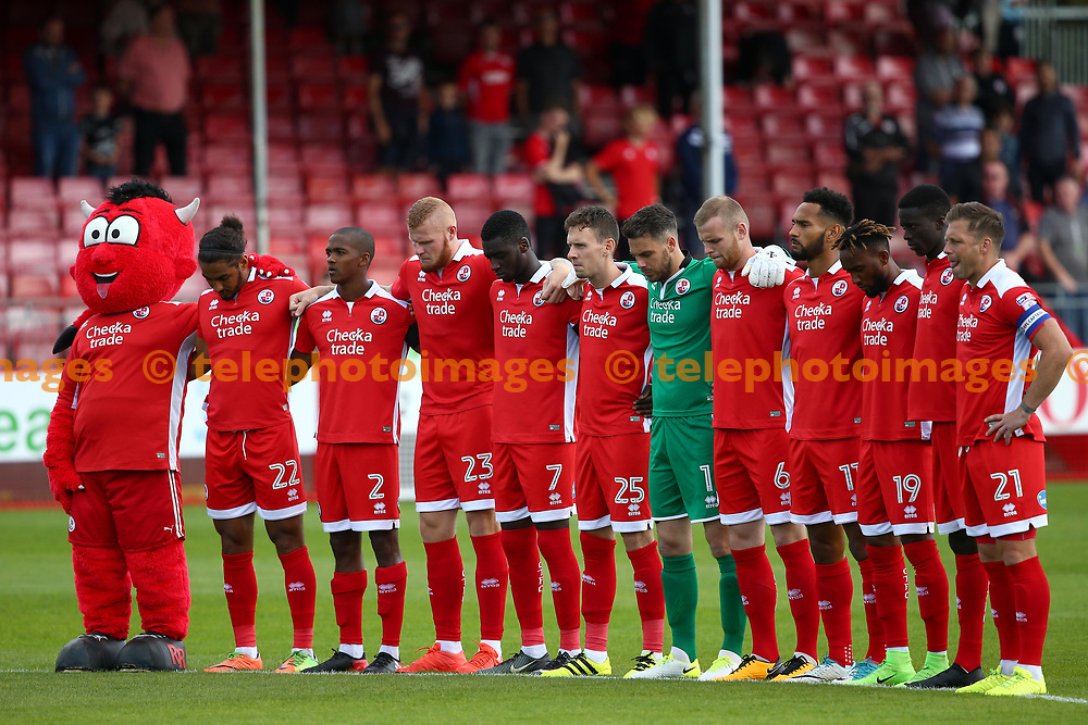 Miniuets silence in respects for the Spanish terror attack during the Sky Bet League 2 match between Crawley Town and Cambridge United at the Checkatrade Stadium in Crawley. 19 Aug 2017
