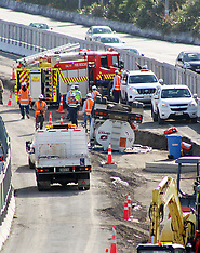Auckland-Diesel tanker rolls on North Western motorway construction