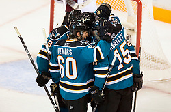 April 22, 2010; San Jose, CA, USA; San Jose Sharks celebrate after scoring a goal against the Colorado Avalanche during the third period of game five in the first round of the 2010 Stanley Cup Playoffs at HP Pavilion. The Sharks defeated the Avalanche 5-0. Mandatory Credit: Jason O. Watson / US PRESSWIRE
