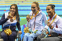 BILDET INNGÅR IKEK I FASTAVTALER. ALL NEDLASTING BLIR FAKTURERT.<br /> <br /> Paralympics<br /> Foto: imago/Digitalsport<br /> NORWAY ONLY<br /> <br /> Paralympics 2016 Swimming RIO DE JANEIRO, 15.09.2016: PARALIMPÍADA 2016 SWIMMING - Sarah Louise Rung (NOR) gold medal, Teresa Perales (ESP) silver medal and Inbal Pezaro (ISR) bronze medal during the swimming Paralimpíada 2016 held at the Olympic Aquatic Stadium