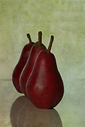 A rustic still life image of three Red Anjou pears lined up behind one another. Subtle green textured background with a pop of red from the pears. A slight hairline traces the shape of the pears. Rustic yet simplistic and a lovely addition to any kitchen or dining area. I chose this image to be on the cover of my second cookbook called 'A Kiss in the Kitchen'. Photographed in my studio.