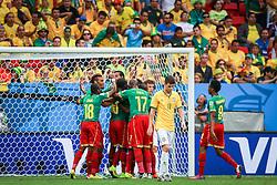 BRASILIA, BRAZIL - June 23, 2014:  Brazil kicks the ball during the 2014 World Cup Group A game between Brazil and Cameroon at Estadio Nacional Mane Garrincha. No Use in Brazil.