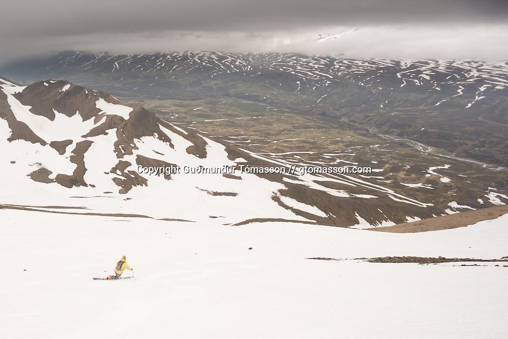 Jón Marínó Sævarsson skiing mt.1124m. in Flateyjardalur, Iceland.