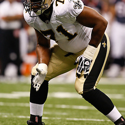 August 21, 2010; New Orleans, LA, USA; New Orleans Saints offensive tackle Charles Brown (71) during the second quarter of a preseason game against the Houston Texans at the Louisiana Superdome. Mandatory Credit: Derick E. Hingle