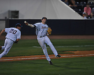 Ole Miss' Preston Overbey(1) throws to first for an out vs. Georgia in college baseball action at Oxford-University Stadium in Oxford, Miss. on Friday, April 8, 2011. Georgia won 9-8.
