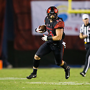 15 September 2018: San Diego State Aztecs fullback Isaac Lessard (34) catches a pass and turns the corner for a first down in the third quarter. The Aztecs beat the Sun Devils 28-21 at SDCCU Stadium in San Diego, California.