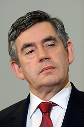 Gordon Brown, U.K.'s prime minister, listens during a press conference at the European Commission headquarters in Brussels, Belgium, on Thursday, Feb. 21, 2008. Gordon Brown is on his first official visit to the European Union since becoming prime minister. (Photo © Jock Fistick)