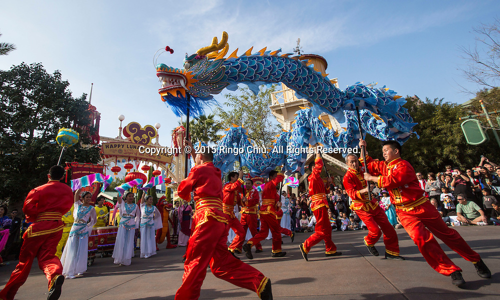 Dragon dancers perform at the Paradise Garden in Disney California Adventure Park during the Happy Lunar New Year Celebration on Saturday February 21, 2015 in Anaheim, California. (Photo by Ringo Chiu/PHOTOFORMULA.com)