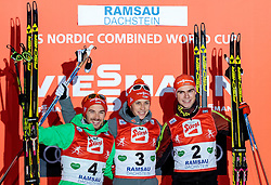 18.12.2016, Nordische Arena, Ramsau, AUT, FIS Weltcup Nordische Kombination, Siegerehrung, im Bild Fabian Riessle (GER, 2. Platz), Sieger Eric Frenzel (GER), Vinzenz Geiger (GER, 3. Platz) // 2nd placed Fabian Riessle of Germany, Winner Eric Frenzel of Germany, 3rd placed Vinzenz Geiger of Germany during Winner Award Ceremony of FIS Nordic Combined World Cup, at the Nordic Arena in Ramsau, Austria on 2016/12/18. EXPA Pictures © 2016, PhotoCredit: EXPA/ JFK