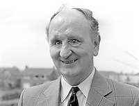 Bertie McConnell, Bangor, Co Down, N Ireland, candidate, Alliance Party of N Ireland, North Down consituency, N Ireland Assembly Election, June 1973. Mr McConnell is blind. 197305000278b.<br /> <br /> Copyright Image from Victor Patterson, 54 Dorchester Park, Belfast, UK, BT9 6RJ<br /> <br /> t1: +44 28 9066 1296 (from Rep of Ireland 048 9066 1296)<br /> t2: +44 28 9002 2446 (from Rep of Ireland 048 9002 2446)<br /> m: +44 7802 353836<br /> <br /> e1: victorpatterson@me.com<br /> e2: victorpatterson@gmail.com<br /> <br /> The use of my copyright images is subject to my Terms & Conditions.<br /> <br /> It is IMPORTANT that you familiarise yourself with them. They are available on my website at www.victorpatterson.com.<br /> <br /> None of my copyright images may be used on a website unless they are visibly watermarked, i.e. © Victor Patterson within the body of the visible image. Metadata denoting my copyright must NOT be deleted. <br /> <br /> Web use (maximum size - 300 kb) is extra at currently recommended NUJ rates.