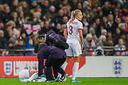 Alex Greenwood (England) brings over assistance for Beth Mead (England) injured following a tackle with Sara Doorsoun-Khajeh (Germany) during the International Friendly match between England Women and Germany Women at Wembley Stadium, London, England on 9 November 2019.