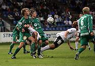 20.07.2008, Tehtaankentt?, Valkeakoski, Finland..Veikkausliiga 2008 - Finnish League 2008.FC Haka - FC KooTeePee.Jani Tanska & Ville Oksanen (KooTeePee) v Jarkko Okkonen & Toni Lehtinen (Haka).©Juha Tamminen.....ARK:k