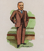 Arthur Henderson (1863-1935) Labour (socialist) politician and trade union leader born in Glasgow, Scotland.   Home Secretary. Foreign Secretary (1929-1931). Awarded the Nobel Peace Prize (1934). From a series of cards on 'Notable MPs' (London, 1929).