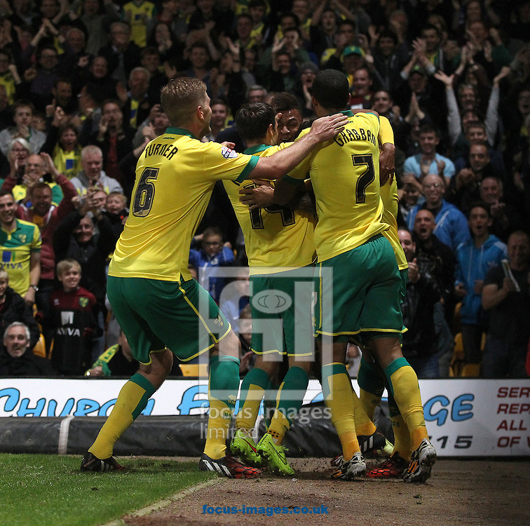 Bradley Johnson of Norwich scores his sides 2nd goal and celebrates during the Sky Bet Championship match at Carrow Road, Norwich<br /> Picture by Paul Chesterton/Focus Images Ltd +44 7904 640267<br /> 19/08/2014