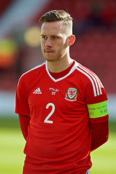 WREXHAM, WALES - Friday, September 2, 2016: Wales' captain Gethin Jones lines-up before the UEFA Under-21 Championship Qualifying Group 5 match against Denmark at the Racecourse Ground. (Pic by Paul Greenwood/Propaganda)