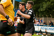 Bradford Bulls winger Joshua Rickett (27) breaks and celebrates after scoring the opening try during the Kingstone Press Championship match between Oldham RLFC and Bradford Bulls at Bower Fold, Oldham, United Kingdom on 13 August 2017. Photo by Simon Davies.