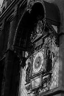 France. Paris. 1st district.  the old historical Clock of the Conciergerie. Paris  on the corner of the quai de l'Horloge, the first public clock, working perfectly despite having been made more than six centuries ago in 1370 /  L'horloge de la conciergerie