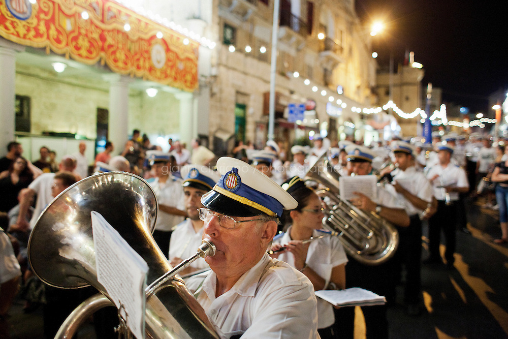 St. Julian's, Malta - 19 August, 2012: The St Julians Band plays and participates at the celebrations in honour of Saint Julian, the patron saint in St Julian, Malta, on 19 August, 2012.<br /> <br /> Gianni Cipriano for The New York Times