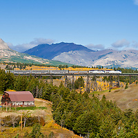 amtrak train crossing the two medicine bridge, blackfeet reservation, glacier national park, Montana