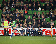 Colin Slade (Highlanders) kicks for a conversion during the Round 17 match of the 2013 Super Rugby Championship between RaboDirect Rebels vs Highlanders at AAMI Park, Melbourne, Victoria, Australia. 12/07/0213. Photo By Lucas Wroe