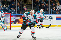 KELOWNA, CANADA - JANUARY 16:  Kyle Topping #24 of the Kelowna Rockets looks for the pass against the Moose Jaw Warriors on January 16, 2019 at Prospera Place in Kelowna, British Columbia, Canada.  (Photo by Marissa Baecker/Shoot the Breeze)